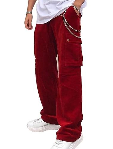 Homens Casual / esportivo Calcas Solto Calcas Tecido Vermelho