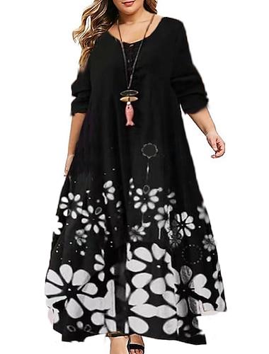 Női Molett Ruha A vonalú ruha Maxi hosszú ruha Hosszú ujj Grafika Zseb Nyomtatott Alkalmi Ősz Fekete L XL XXL 3 XL 4 XL / Extra méret