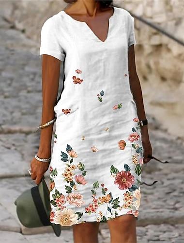 Női Váltó ruha Térdig érő ruha Szürke Lóhere Fehér Rövid ujjú Virágos Virág Nyomtatott Tavasz Nyár V-alakú Alkalmi Szabadság 2021 S M L XL XXL XXXL / Bő