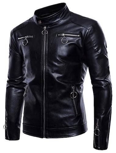 בגדי ריקוד גברים ג\'קט יומי ליציאה סתיו חורף רגיל מעיל עומד רגיל עמיד אלגנטית Jackets שרוול ארוך צבע אחיד ניטים שחור