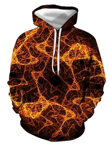Men\'s Pullover Hoodie Sweatshirt Graphic Flame Print Hooded Casual Daily 3D Print Casual Streetwear Hoodies Sweatshirts  Long Sleeve Orange Red Brown