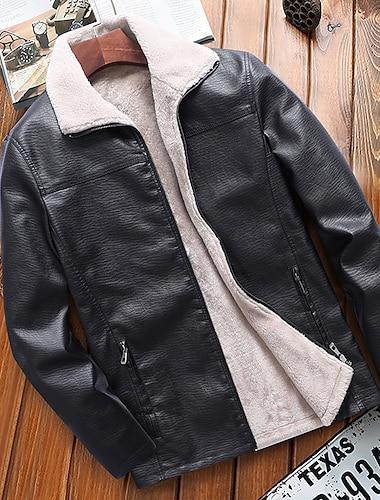 رجالي جاكيت مناسب للبس اليومي الأماكن المفتوحة الخريف الشتاء عادية معطف سحاب طوي عادي الدفء كاجوال جاكتس كم طويل لون الصلبة قبة فرو أسود
