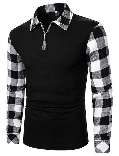 Муж. Рубашка для гольфа Полотняное плетение Длинный рукав Повседневные Стандартный Верхушки Деловые Черный