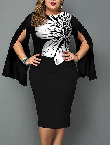 Női Molett Ruha Hüvelyruha Maxi hosszú ruha Hosszú ujj Virágos Hasított Nyomtatott Alkalmi Ősz Nyár Fekete XL XXL 3 XL 4 XL 5 XL / Normál / Extra méret