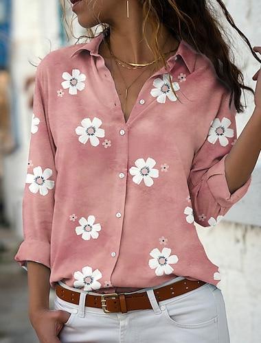 여성용 꽃 테마 블라우스 셔츠 플로럴 데이지 긴 소매 단추 프린트 셔츠 카라 캐쥬얼 스트리트 쉬크 탑스 보통 푸른 블러슁 핑크 그레이 / 3D 인쇄