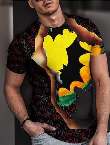 Herre Unisex T-shirt 3D-udskrivning Grafiske tryk Flagermus Trykt mønster Kortærmet Halloween Regulær Toppe Afslappet Designer Stor og høj Sort / Sommer