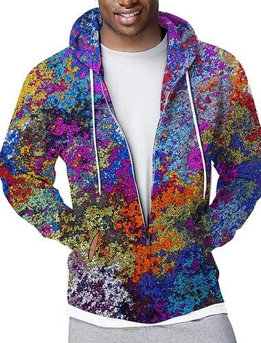 Męskie Bluza z zamkiem błyskawicznym Rozpinana bluza z kapturem Graficzny Graffiti Kaptur Sport i turystyka Codzienny Druk 3D Codzienny Moda miejska Bluzy z kapturem Bluzy Długi rękaw Tęczowy