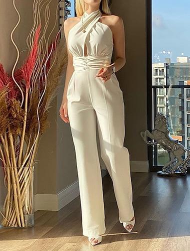 여성용 캐쥬얼 데일리 스트리트 쉬크 캐쥬얼 일상복 높은 전압 화이트 점프 수트 솔리드 뒷면이 없는 스타일