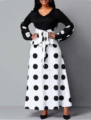 Women\'s A Line Dress Maxi long Dress White Long Sleeve Polka Dot Lace up Print Fall Winter V Neck Casual Regular Fit 2021 S M L XL XXL 3XL 4XL 5XL