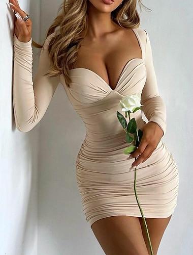 Γυναικεία Φόρεμα σε ευθεία γραμμή Μίνι φόρεμα Ανοικτό Καφέ Χακί Λευκό Μαύρο Ρουμπίνι Καφέ Μακρυμάνικο Συμπαγές Χρώμα Δετοβαμένο Σουρωτά Φθινόπωρο Χαμόγελο Σέξι Κανονικό 2021 Τ M L XL XXL