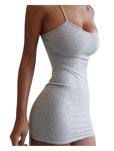 Γυναικεία Φόρεμα με λεπτή τιράντα Μίνι φόρεμα Θαλασσί Πράσινο Χακί Γκρίζο Μαύρο Ρουμπίνι Αμάνικο Συμπαγές Χρώμα Εξώπλατο Άνοιξη Καλοκαίρι κρύος ώμος Καθημερινό Σέξι Κλαμπ Λεπτό 2021 Τ M L XL XXL
