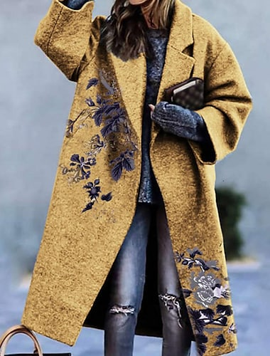 Γυναικεία Παλτό Causal Καθημερινά Φθινόπωρο Χειμώνας Μακρύ Παλτό Μονόπετο Ενός Κουμπιού Απορρίπτω Φαρδιά Αντιανεμικό Διατηρείτε Ζεστό Κομψό & Μοντέρνο Καθημερινό Σακάκια Μακρυμάνικο Στάμπα