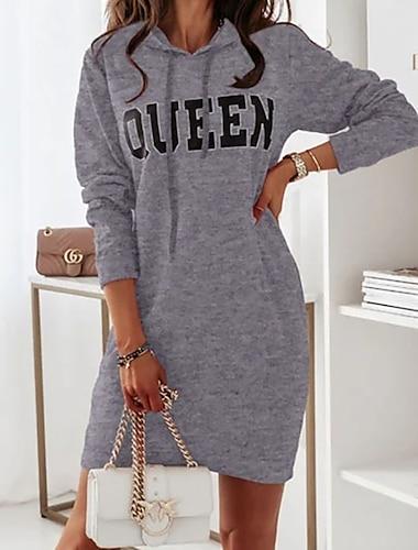 Women\'s Sheath Dress Short Mini Dress Blue Gray Khaki Green Black Long Sleeve Letter Ruched Fall Winter Round Neck Casual 2021 S M L XL XXL 3XL