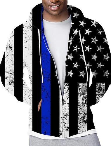 Per uomo Felpa con cappuccio e zip Felpa con cappuccio a zip intera Pop art Bandiera Sportivo Casuale Quotidiano Stampa 3D Casuale Moda citta Felpe con cappuccio Felpe Nero