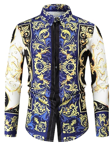 Муж. Рубашка Хенли Рубашка 3D печать Цветочный принт Растения 3D С принтом Длинный рукав Дом Верхушки Легкие Элегантный стиль На каждый день Мода Белый