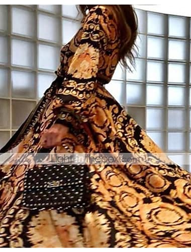 Women\'s Swing Dress Maxi long Dress Brown Long Sleeve Print Patchwork Print Fall Spring V Neck Formal Sexy Going out vacation dresses 2021 S M L XL / Loose
