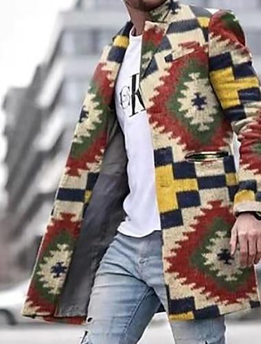 رجالي ترانش كوت معطف مناسب للبس اليومي الأماكن المفتوحة الخريف الشتاء طويلة معطف صدر فردي شق الصدر علوي نحيل الدفء كاجوال أناقة الشارع جاكتس كم طويل منقوشة / شيك طباعة أحمر البيج