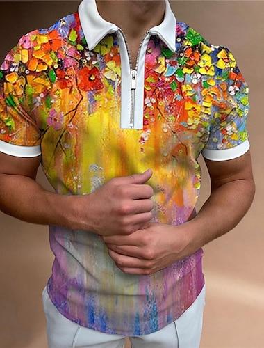 Herre Golftrøje Blomstret Hældning Lynlås Trykt mønster Kortærmet Gade Regulær Toppe Sportstøj Afslappet Mode Bekvem Regnbue / Sommer
