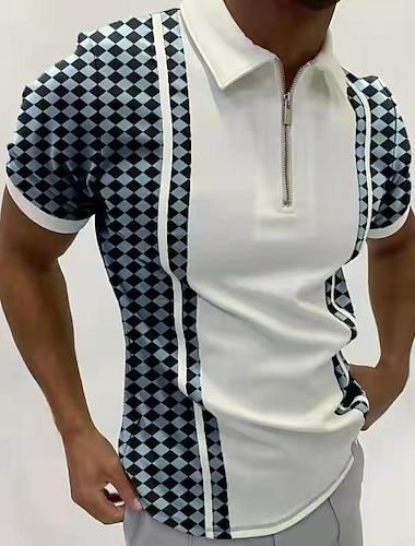 Men\'s Golf Shirt Other Prints Striped Tartan Letter Short Sleeve Going out Tops Designer Punk & Gothic White