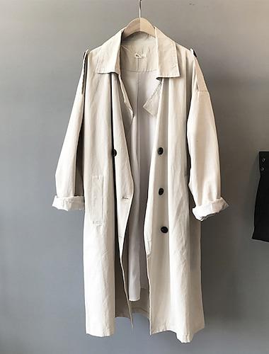 Γυναικεία Παλτό Αιτιώδης συνάφεια Καθημερινά Άνοιξη Καλοκαίρι Κανονικό Παλτό Κανονικό Καθημερινό Σακάκια Συμπαγές Χρώμα Αγνό Χρώμα Βαθυγάλαζο Μπεζ