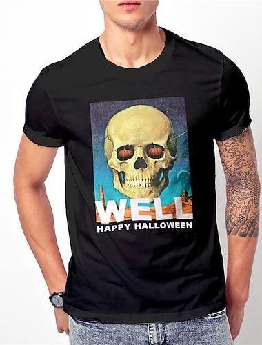 Per uomo Unisex Magliette maglietta Camicia Stampa a caldo Stampe astratte Teschi Con stampe Manica corta Halloween Top Essenziale Originale Grande e alto Nero