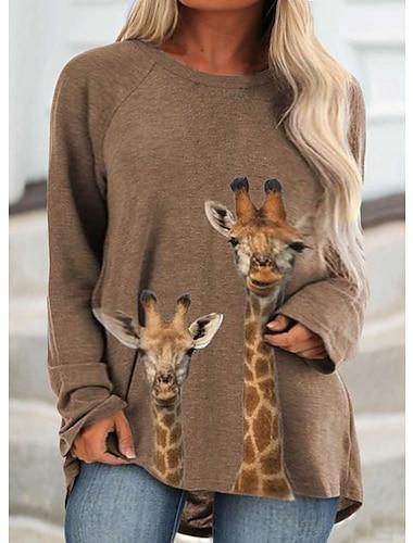 여성용 플러스 사이즈 셔츠 그래픽 프린트 동물 긴 소매 프린트 라운드 넥 베이직 탑스 카키
