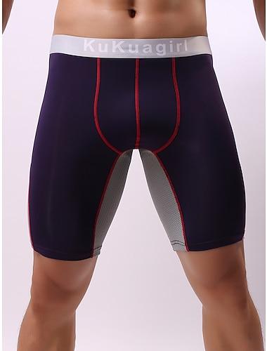 Herr Grundläggande Enkel Ren färg Boxershorts Microelastisk Låg Midja Blå L / Mode