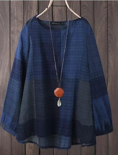 Γυναικεία Συν μέγεθος Άριστος Μπλούζα Καρό Μακρυμάνικο Στρογγυλή Λαιμόκοψη Καθημερινό Κλασσικό Φθινόπωρο Χειμώνας Κίτρινο Ρουμπίνι Σκούρο μπλε Μεγάλο μέγεθος L XL XXL XXXL 4XL / Κανονικό