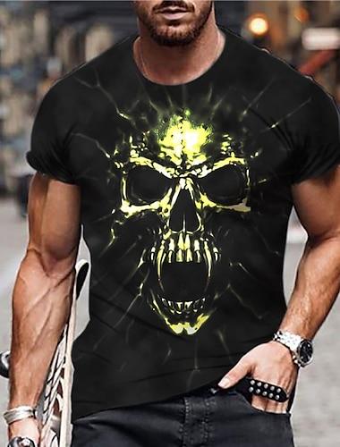 Herre Unisex T-shirt 3D-udskrivning Grafiske tryk Dødningehoveder Trykt mønster Kortærmet Daglig Regulær Toppe Afslappet Designer Stor og høj Sort