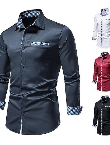 Муж. Рубашка Хенли Рубашка непечатаемый Решетка Пэчворк Длинный рукав Для улицы Верхушки Классический Элегантный стиль Мода Классика Винный Белый Черный