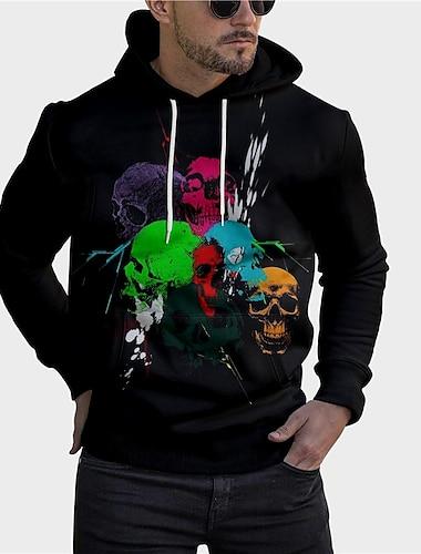 Men\'s Unisex Pullover Hoodie Sweatshirt Graphic Prints Skull Print Hooded Daily Sports 3D Print 3D Print Casual Hoodies Sweatshirts  Long Sleeve Black