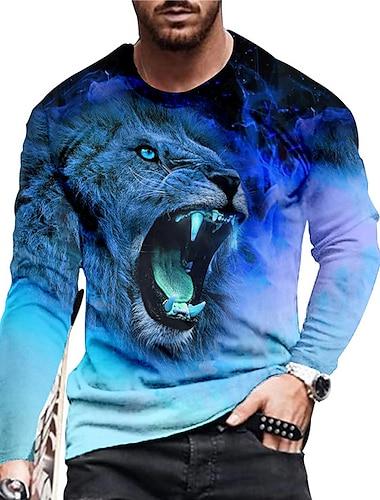 Ανδρικά Γιούνισεξ Κοντομάνικα Μπλουζάκι Πουκάμισο 3D εκτύπωση Γραφικά Σχέδια Λιοντάρι Στάμπα Μακρυμάνικο Καθημερινά Κανονικό Άριστος Καθημερινό Υψηλής Ποιότητας Μεγάλο και ψηλό
