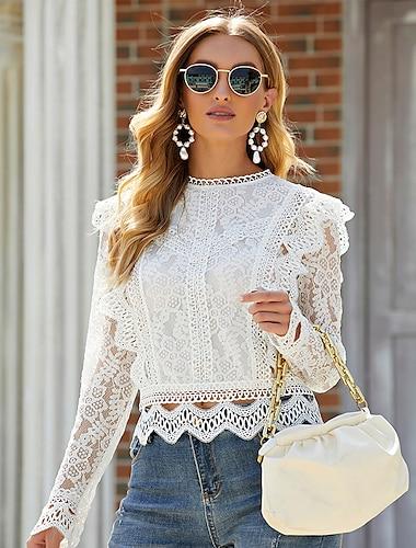 여성용 블라우스 셔츠 플레인 긴 소매 컷 아웃 레이스 라운드 넥 스트리트 쉬크 탑스 화이트