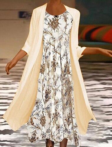 Női A vonalú ruha Maxi hosszú ruha Bézs Háromnegyedes Nyomtatott Nyomtatott Ősz Tél Kerek Alkalmi Normál 2021 S M L XL XXL 3XL 4XL 5XL
