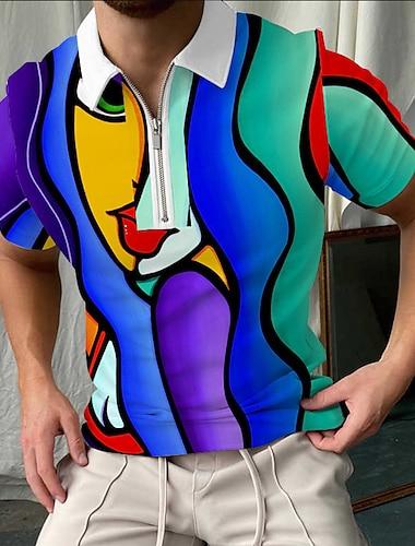 رجالي قميص الجولف مجرد صورة سحاب طباعة كم قصير شارع قمم ملابس رياضية كاجوال موضة مريح أزرق