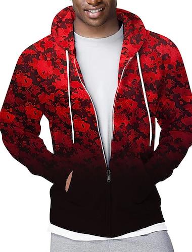 Męskie Bluza z zamkiem błyskawicznym Rozpinana bluza z kapturem Kratka Graficzny Kaptur Sport i turystyka Codzienny Druk 3D Codzienny Moda miejska Bluzy z kapturem Bluzy Długi rękaw Czerwony