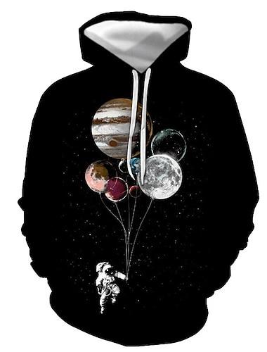 Ανδρικά Φούτερ πουλόβερ με κουκούλα και πουλόβερ Σύμπαν Γραφική Στάμπα Causal Καθημερινά 3D εκτύπωση Καθημερινό Κομψό στυλ street Φούτερ Φούτερ Θαλασσί Βυσσινί Μαύρο