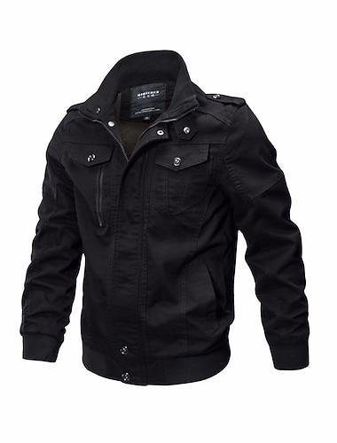 Bărbați Jachetă Stradă Zilnic Toamnă Iarnă Scurt Palton Fit regulat Rezistent la Vânt Cald Casual Jachete Manșon Lung Culoare solidă Matlasat Kaki Trifoi Negru