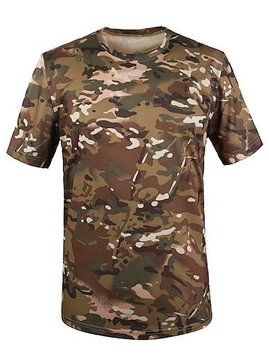Homens Camisetas Camiseta Outras estampas Cor Solida Cobra camuflagem Manga Curta Diario Normal Blusas Vintage Moda de Rua Amarelo Verde Tropa Rosa empoeirada