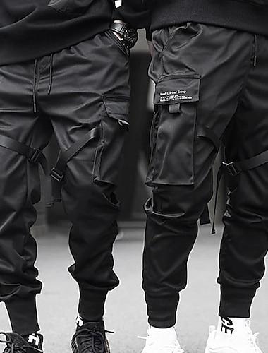 męskie spodnie dresowe długie z wieloma kieszeniami moda na zewnątrz casual luźny krój streetwear ze sznurkiem cargo spodnie