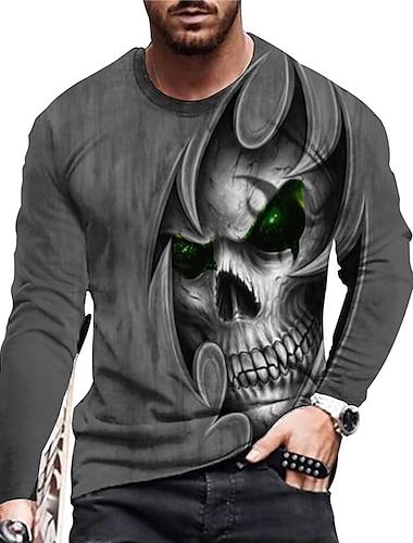 Męskie Dla obu płci Koszulki Podkoszulek Koszula Druk 3D Wzory graficzne Czaszka Nadruk Długi rękaw Codzienny Najfatalniejszy Codzienny Designerskie Duży i wysoki Szary