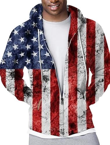 Men\'s Zip Up Hoodie Sweatshirt Full Zip Hoodie Graphic National Flag Hooded Sports & Outdoor Casual Daily 3D Print Casual Streetwear Hoodies Sweatshirts  Long Sleeve Red