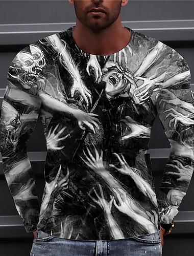 Herr Unisex T-shirts T-shirt Skjorta 3D-tryck Grafiska tryck händer Tryck Långärmad Dagligen Blast Ledigt Designer Stor och hög Svart / Grå