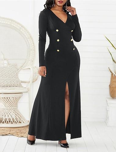 Women\'s Sheath Dress Maxi long Dress Yellow Green Black Long Sleeve Solid Color Split Button Fall V Neck Casual Regular Fit 2021 S M L XL