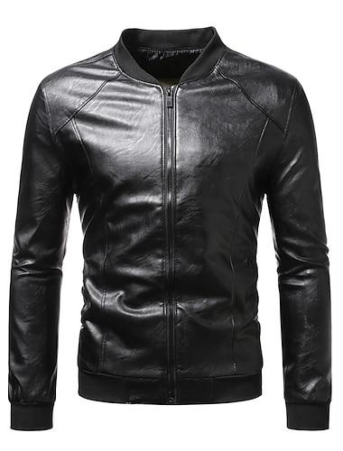 Bărbați Jachetă Stradă Zilnic Toamnă Iarnă Regulat Palton Guler de stand Fit regulat Termic cald Rezistent la Vânt Casual Jachete Manșon Lung Culoare solidă Matlasat Negru