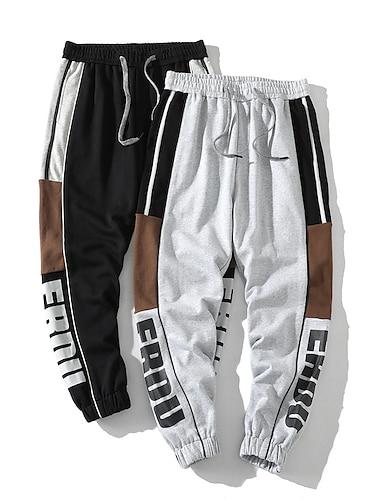 Męskie Na co dzień / Sportowy Moda miejska Komfort Na zewnątrz Uprawiający jogging Spodnie Spodnie dresowe Codzienny Spodnie Niejednolita całość Pełna długość Ściągana na sznurek Szary Czarny