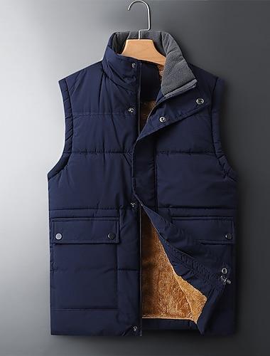 رجالي جيليه مناسب للبس اليومي الأماكن المفتوحة الخريف الشتاء عادية معطف عادي الدفء كاجوال جاكتس بدون كم لون الصلبة جيب أزرق رمادي أسود
